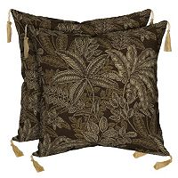 Bombay® Outdoors Palmetto Espresso Floral Tassels Reversible Throw Pillow 2-piece Set