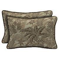Bombay® Outdoors Palmetto Mocha Floral Reversible Oblong Throw Pillow 2-piece Set