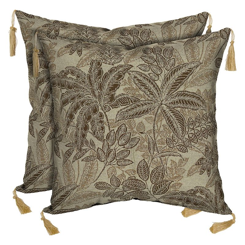 Bombay Outdoors Palmetto Mocha Floral Tassels Reversible Throw Pillow 2-piece Set