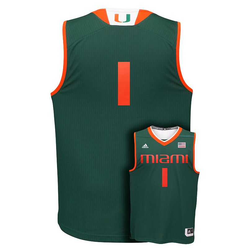 Men's adidas Miami Hurricanes Replica Basketball Jersey