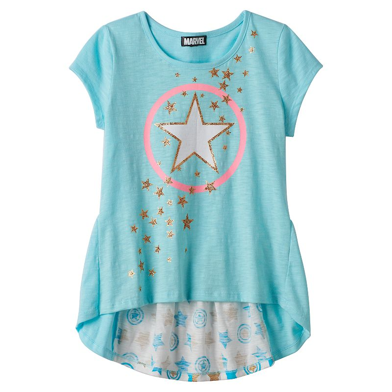 Girls 7-16 Marvel Captain America Flounce Graphic Tee