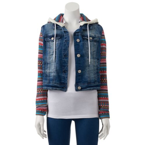 Juniors' Wallflower Mixed Media Cropped Faded Denim Jacket