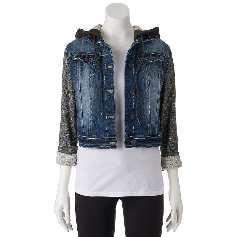 Juniors' Wallflower Mixed Media Cropped Jean Jacket