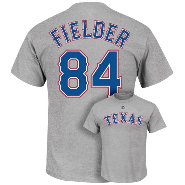Men's Majestic Texas Rangers Prince Fielder Player Name and Number Tee