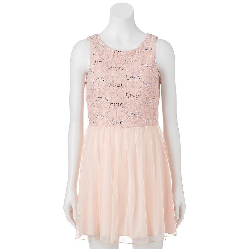 Juniors' Speechless Sequin Lace & Tulle Dress