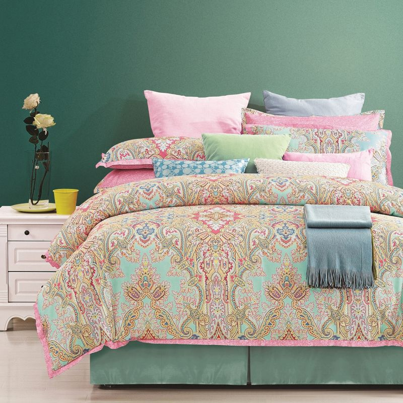 Bed set lime green pink palace 8 piece 300 thread count bed set lime