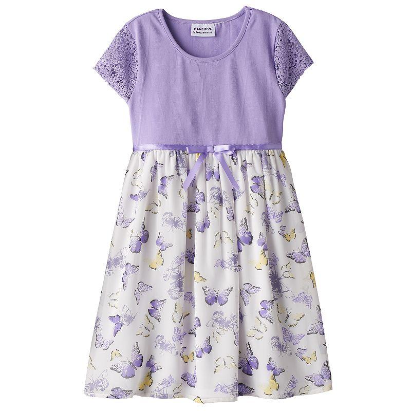Girls 4-6x Blueberi Boulevard Crochet Chiffon Dress