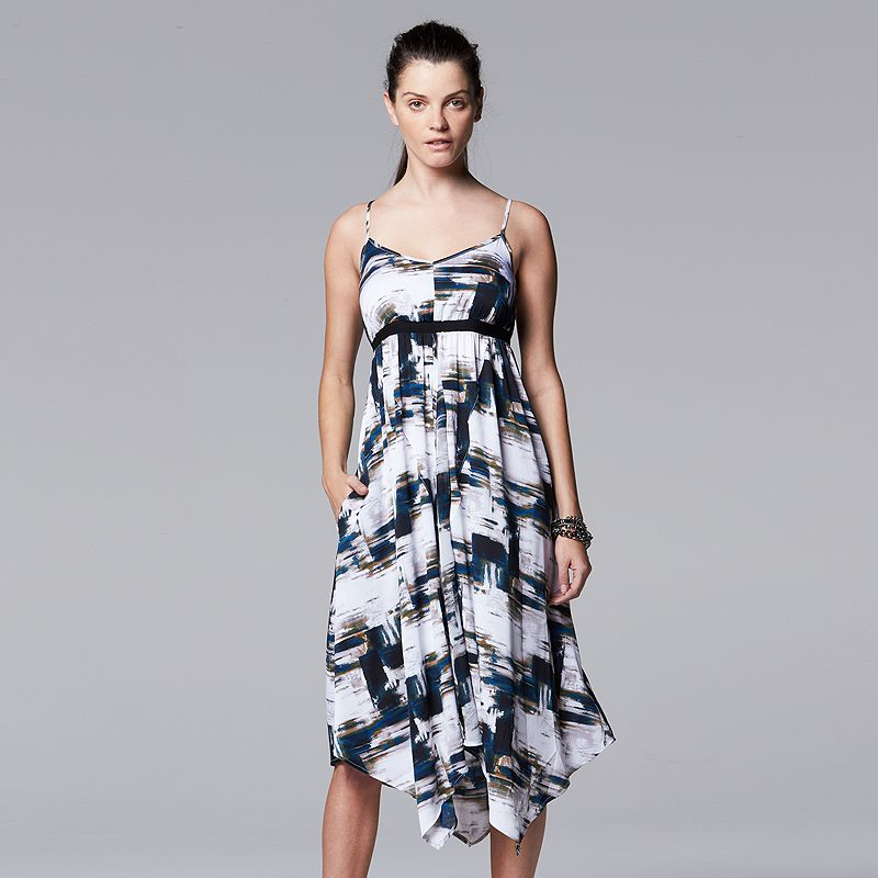 Women's Simply Vera Vera Wang Print Handkerchief Empire Dress