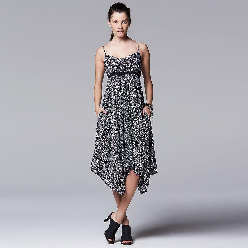 Women's Simply Vera Vera Wang Print Handkerchief Empire Dress