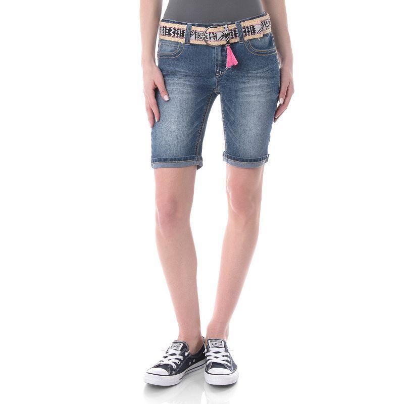 Juniors' Wallflower Sewn Rolled Bermuda Shorts