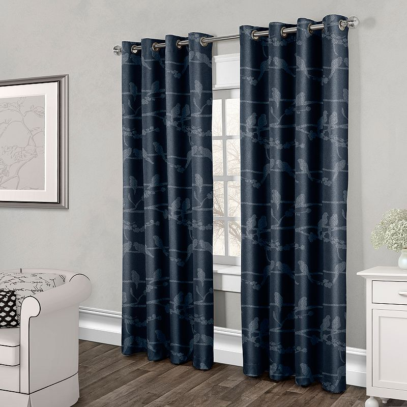 Exclusive Home 2-pack Love Birds Textured Jacquard Curtains - 54'' x 84''