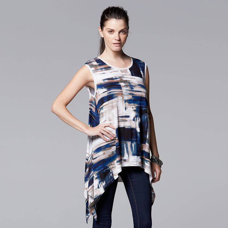 Women's Simply Vera Vera Wang Print Handkerchief Hem Top