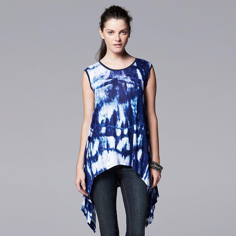 Women's Simply Vera Vera Wang Print Handkerchief Hem Top