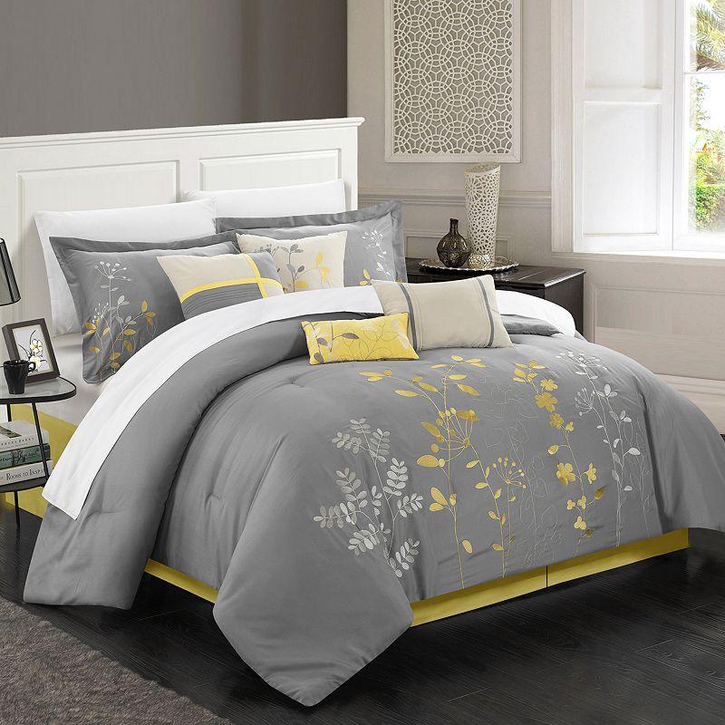 chic home bliss garden 8 piece oversized bed set. Black Bedroom Furniture Sets. Home Design Ideas