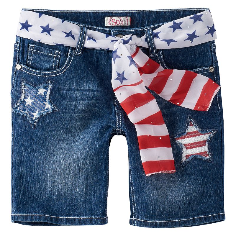 Girls 7-16 & Plus Size SO® Destructed Patriotic Bermuda Shorts