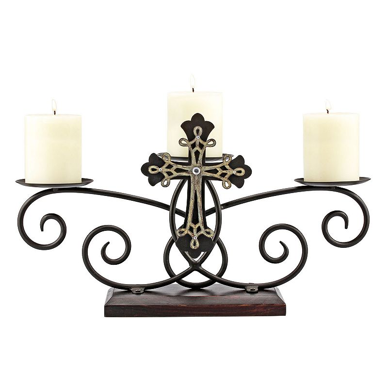 Stonebriar Collection Three Pillar Cross Candle Holder