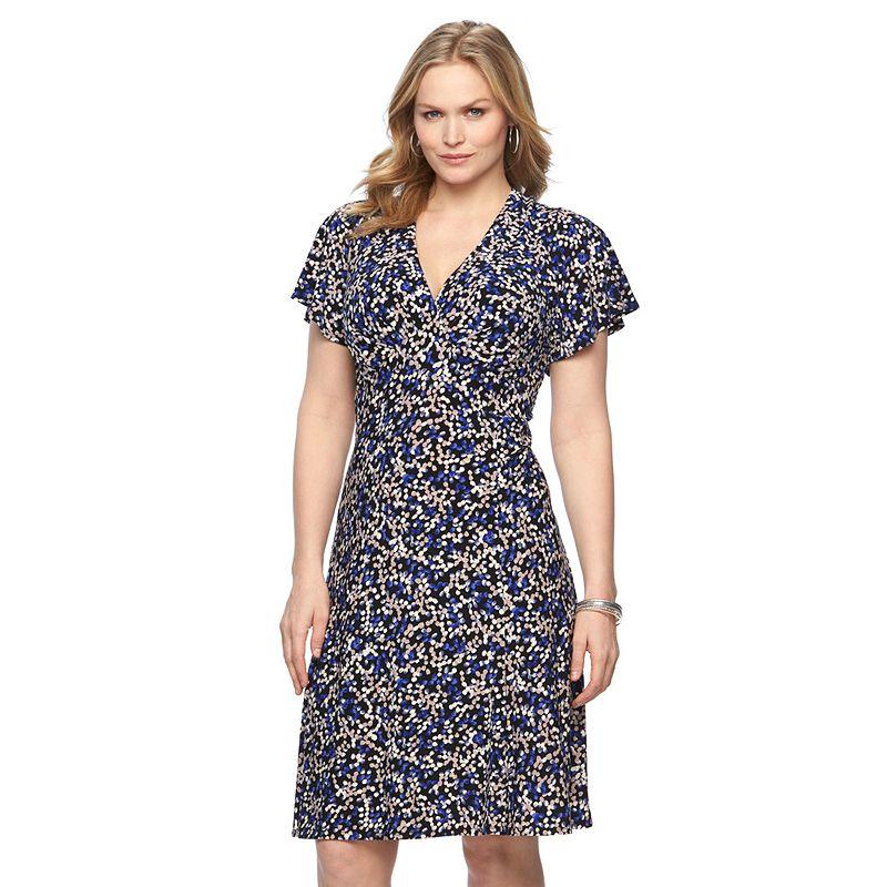 Plus Size Chaps Pebble Pleated Empire Dress