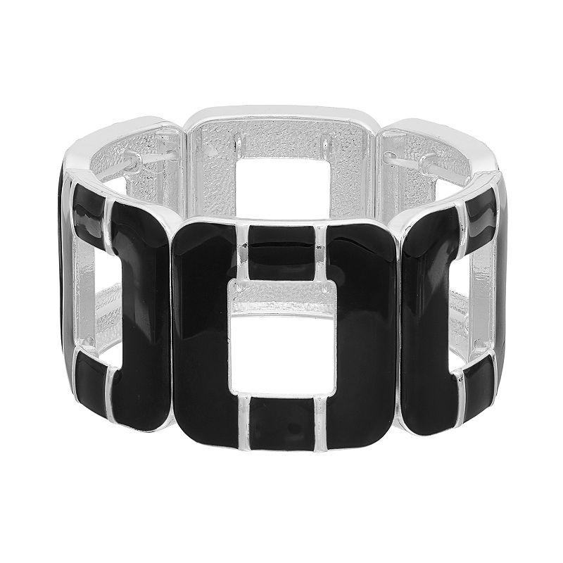 Black Openwork Square Stretch Bracelet