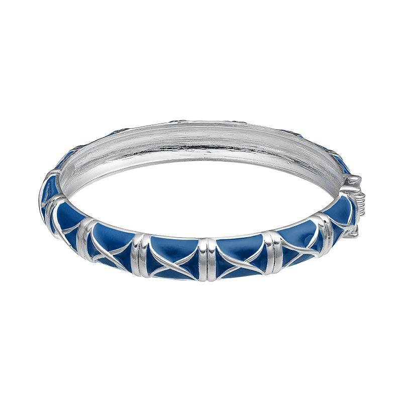 Blue Crisscross Hinged Bangle Bracelet