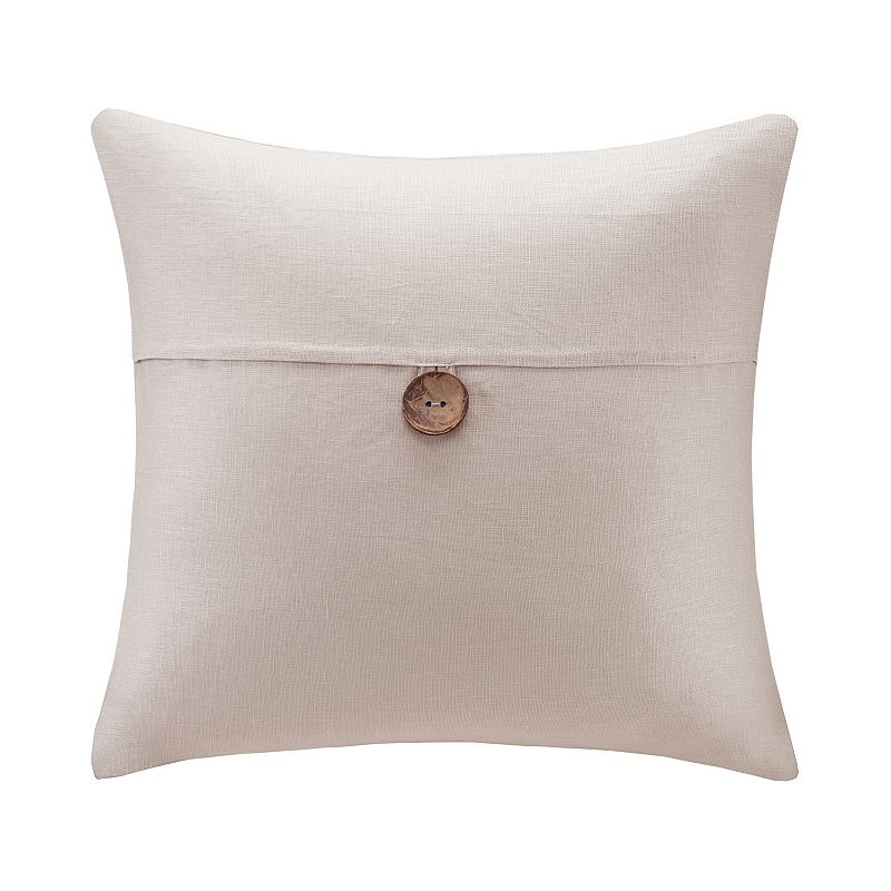 Madison Park One-Button Linen Throw Pillow