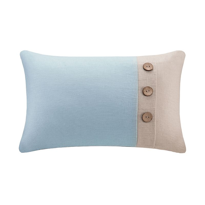 Madison Park Three-Button Linen Throw Pillow