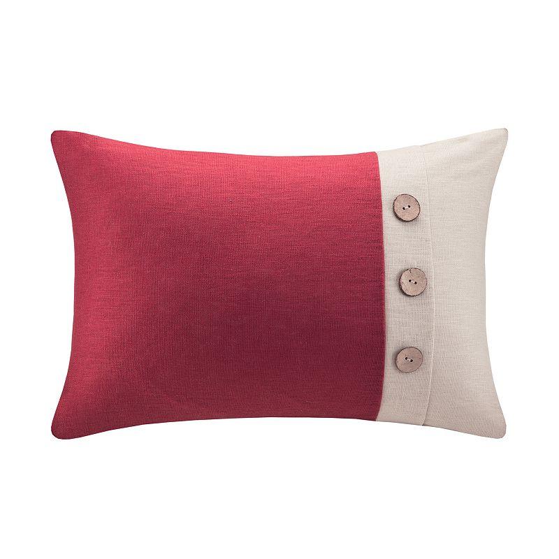 Madison Park One-Button Linen Throw Pillow DealTrend