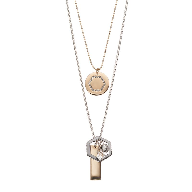 COCO LANE Multistrand Geometric Charm Necklace