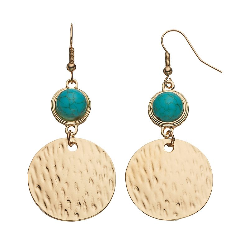 Simulated Turquoise Hammered Disc Drop Earrings