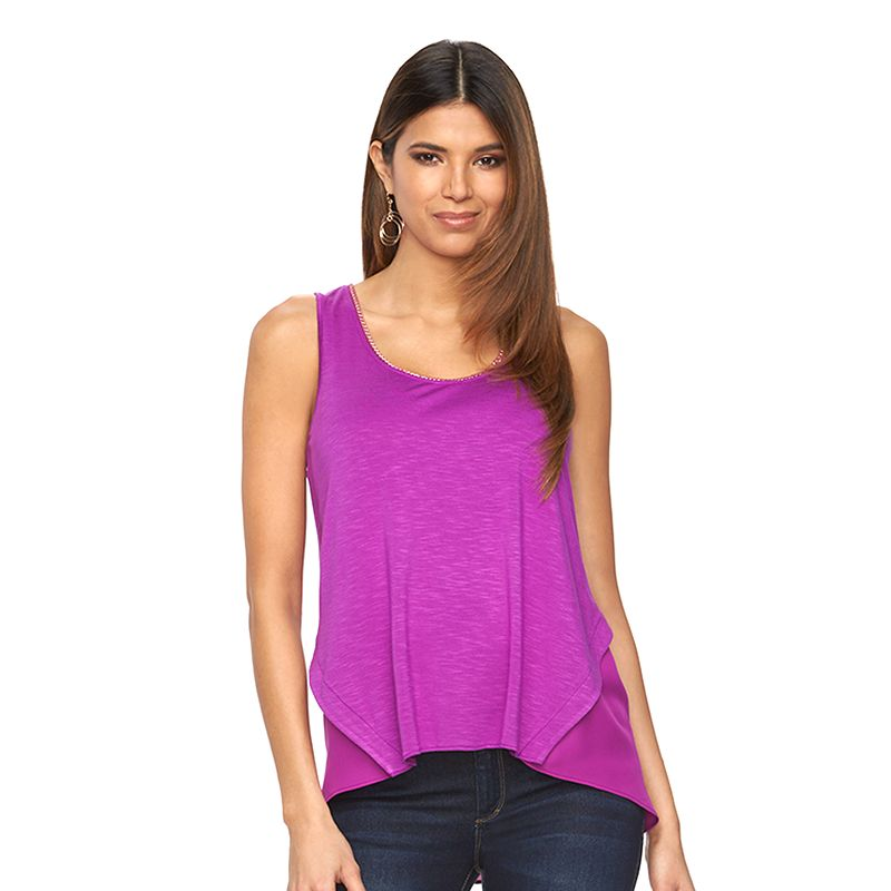 Women's Jennifer Lopez Mixed-Media Embellished Tank