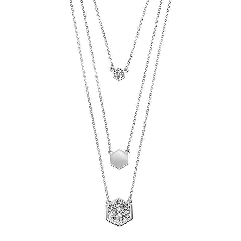 COCO LANE Hexagon Multistrand Necklace