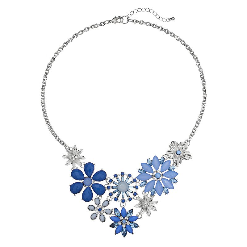 Blue Flower Collage Bib Necklace