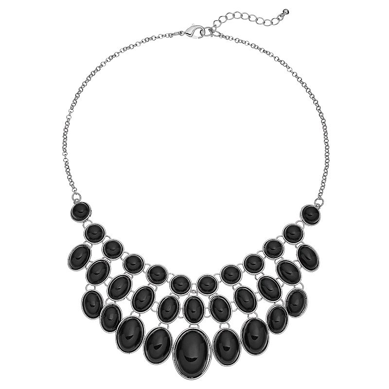 Circle & Oval Black Cabochon Bib Necklace