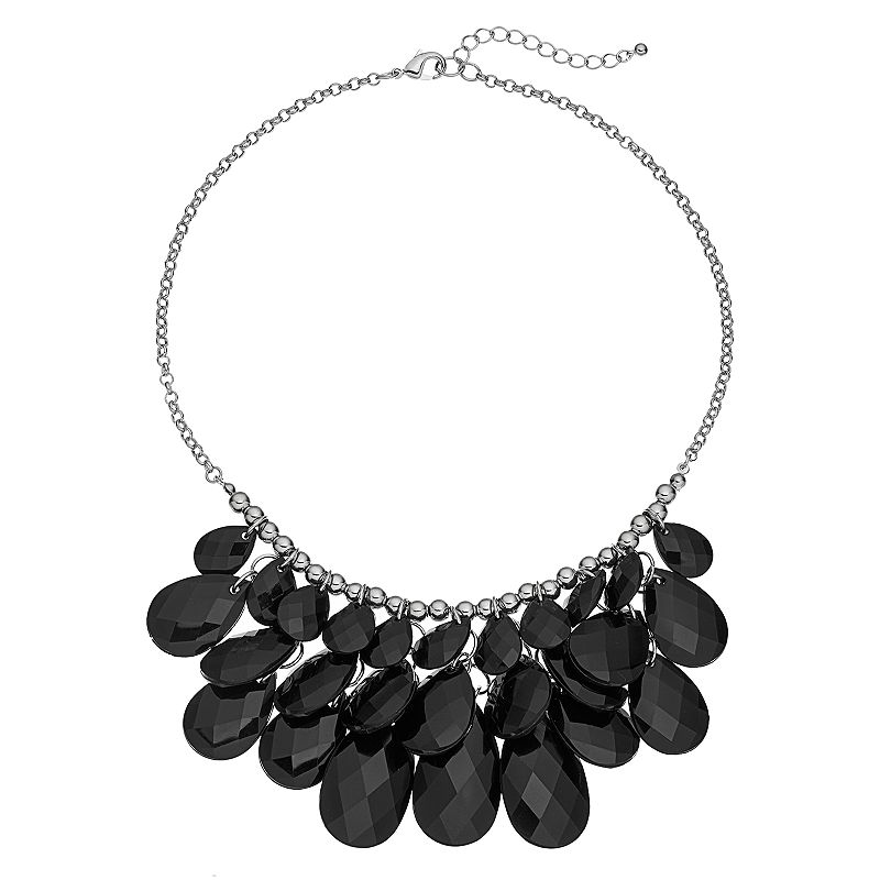 Black Beaded Teardrop Bib Necklace