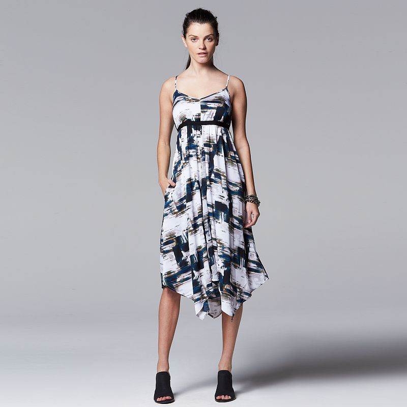 Petite Simply Vera Vera Wang Print Handkerchief Empire Dress