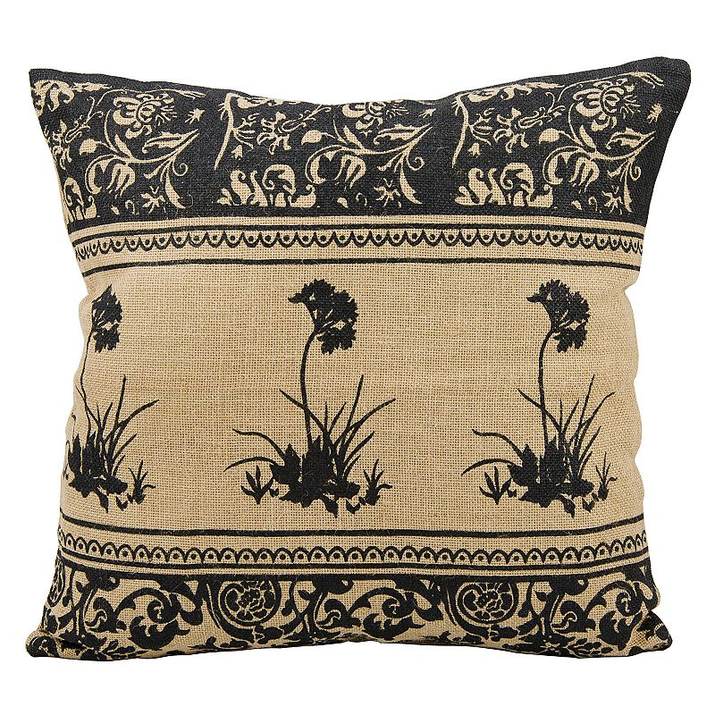 Mina Victory Lifestyles Floral Jute Throw Pillow