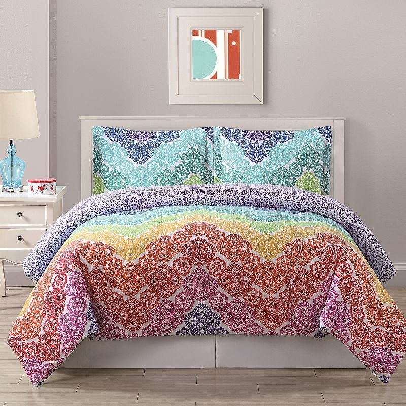 Bed Threads Lace Chevron Comforter Set