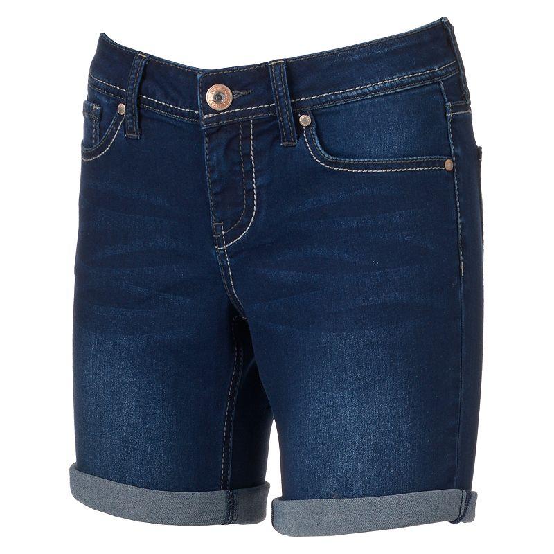 Juniors' Hydraulic Lola Roll-Cuff Denim Bermuda Shorts