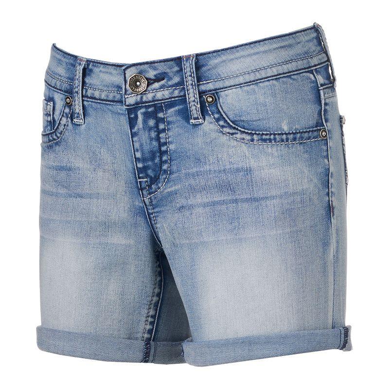 Juniors' Hydraulic Lola Faded Denim Midi Shorts