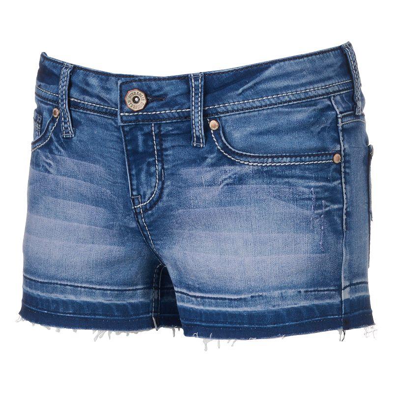 Juniors' Hydraulic Bailey Released-Hem Denim Shortie Shorts