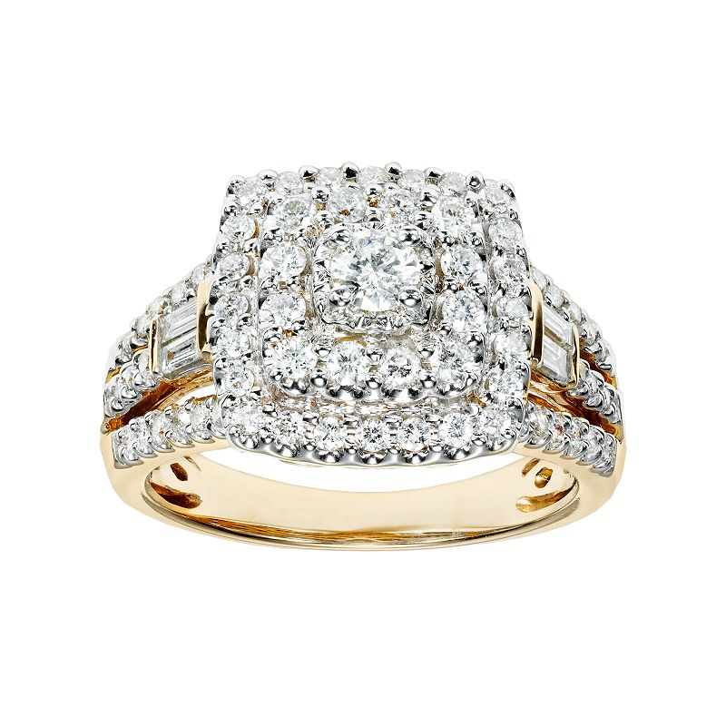 Cherish Always 10k Gold 1 Carat T.W. Certified Diamond Square Halo Engagement Ring
