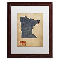 Trademark Global Denim State Wood Framed Canvas Wall Art