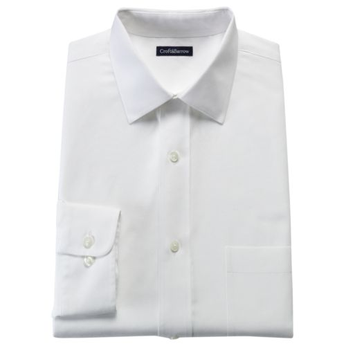 Men's Croft & Barrow® Fitted Solid No Iron Spread Collar Dress Shirt