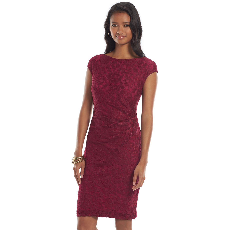 Womens Chaps Pleated Lace Sheath Dress
