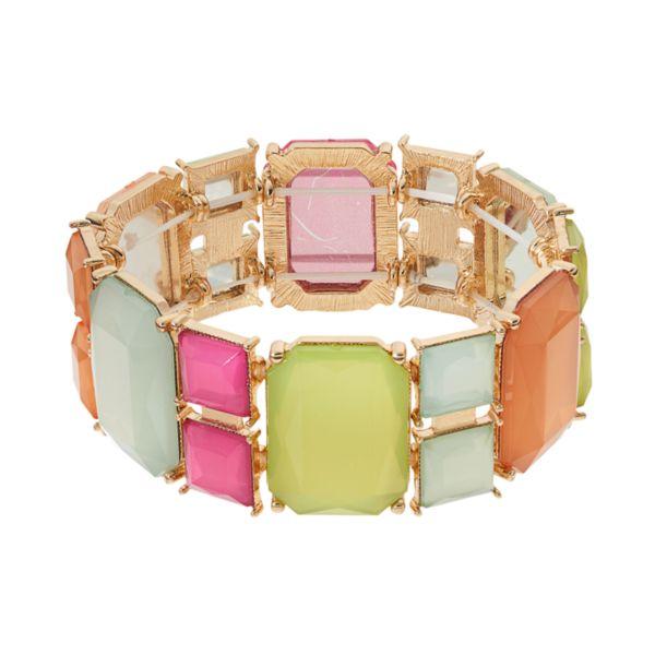 Faceted Geometric Stretch Bracelet