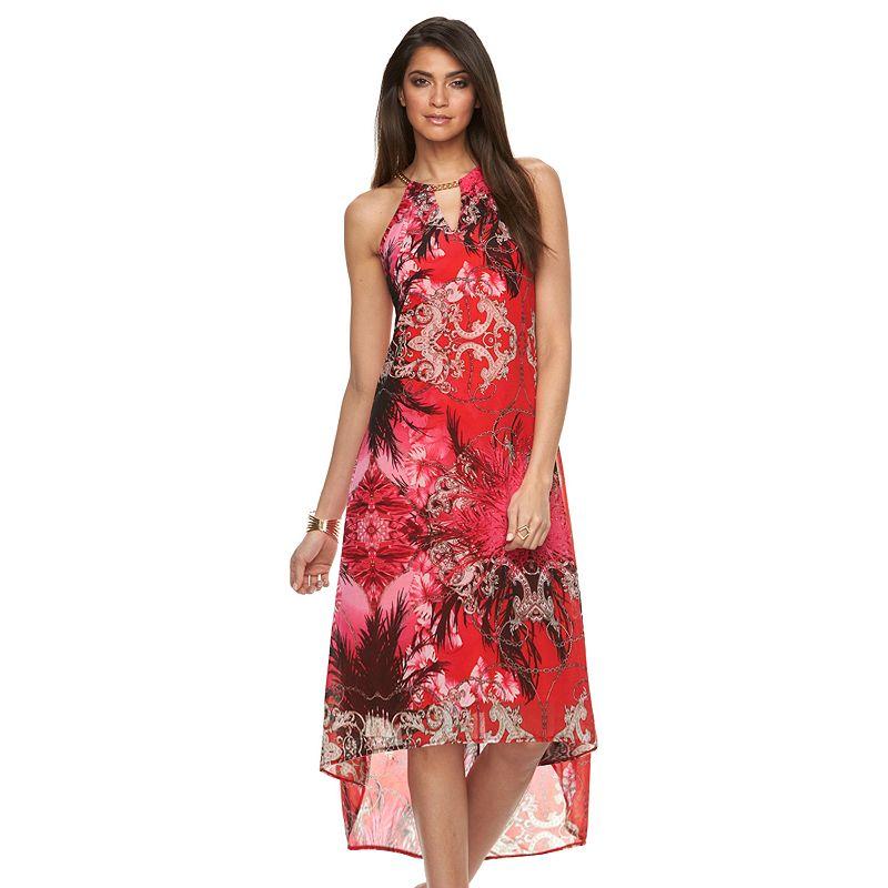 Petite Jennifer Lopez Print Mesh High-Low Maxi Dress