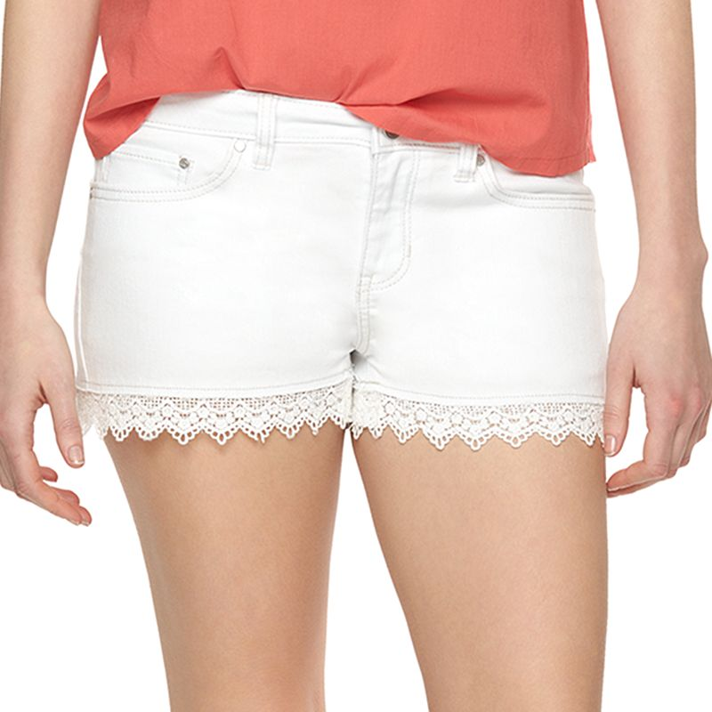 Women's LC Lauren Conrad Lace-Trim Jean Shorts