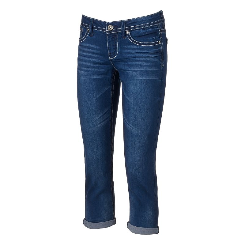 Juniors' Hydraulic Bailey Roll-Cuff Denim Capris