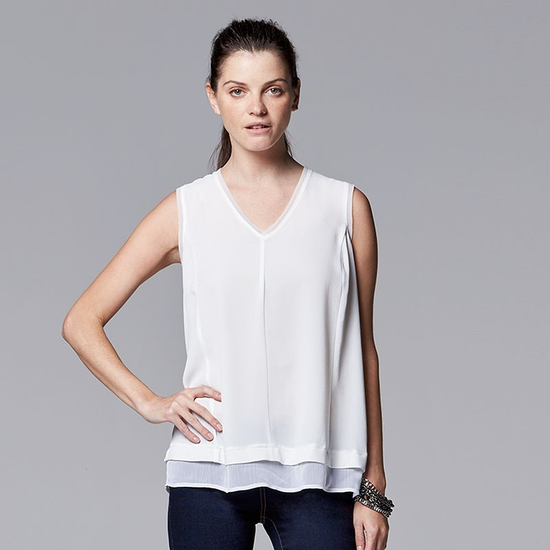 Women's Simply Vera Vera Wang Mock-Layer Crepe Top