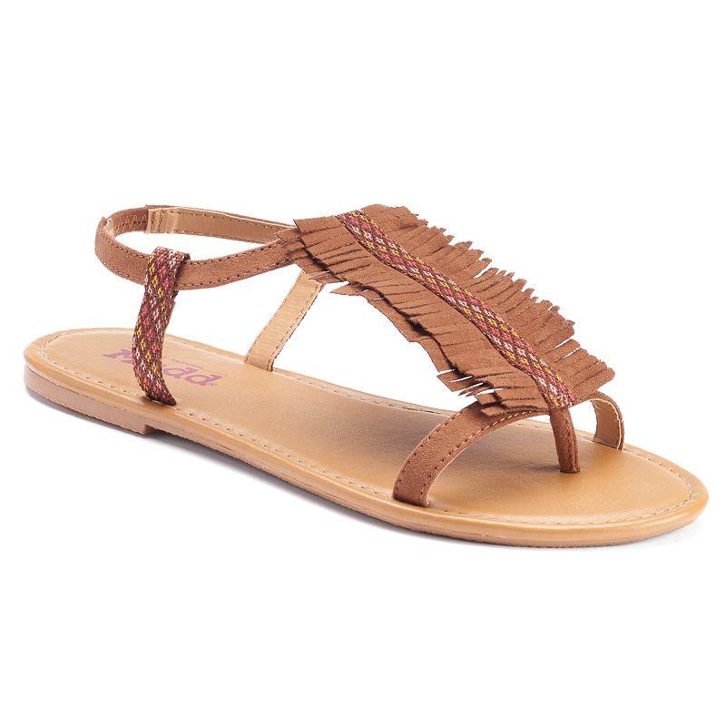 Mudd® Women's Fringed T-Strap Sandals