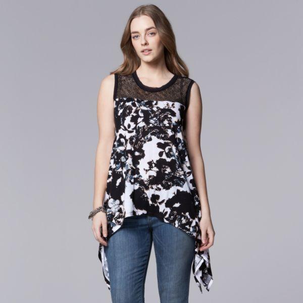 Plus Size Simply Vera Vera Wang Floral Handkerchief Hem Tank